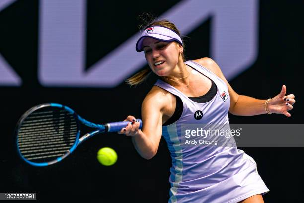 Sofia Kenin of the United States of America plays a forehand in her Women's Singles second round match against Kaia Kanepi of Estonia during day four...