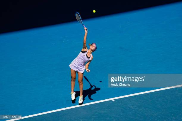 Sofia Kenin of The United States of America serves in her Women's Singles first round match against Maddison Inglis of Australia during day two of...