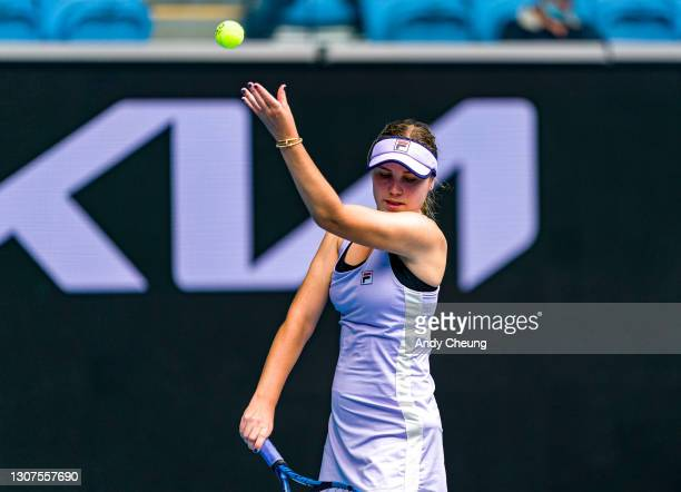 Sofia Kenin of the United States of America serves in her Women's Singles second round match against Kaia Kanepi of Estonia during day four of the...