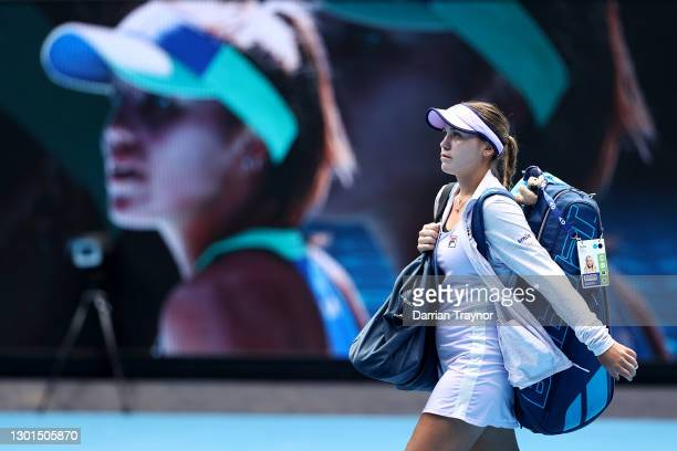Sofia Kenin of the United States of America walks onto court in her Women's Singles second round match against Kaia Kanepi of Estonia during day four...