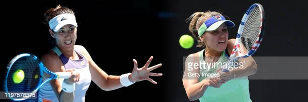 COMPOSITE OF IMAGES Image numbers 12026295431201991200 GRADIENT ADDED In this composite image a comparison has been made between Garbine Muguruza of...
