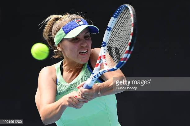Sofia Kenin of the United States plays a backhand during her Women's Singles fourth round match against Coco Gauff of the United States on day seven...