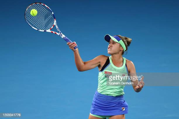 Sofia Kenin of the United States plays a forehand during her Women's SinglesFinal match against Garbine Muguruza of Spain on day thirteen of the...