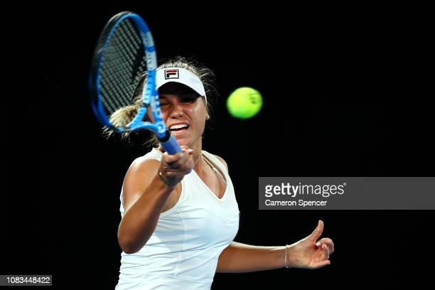 Sofia Kenin of the United States plays a forehand in her second round match against Simona Halep of Romania during day four of the 2019 Australian...