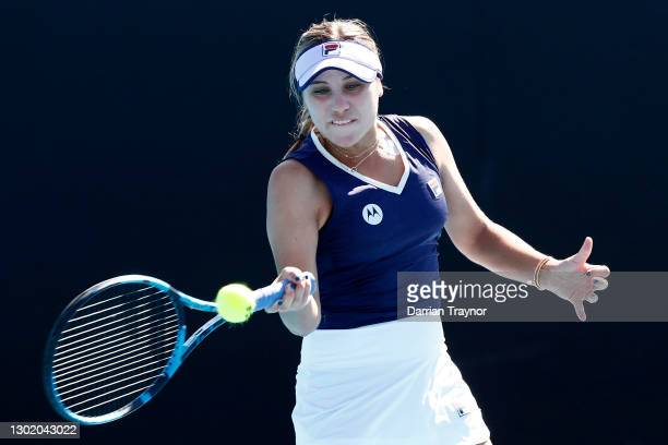 Sofia Kenin of the United States plays a forehand in her Women's Singles first round match against Olivia Gadecki of Australia during day one of the...