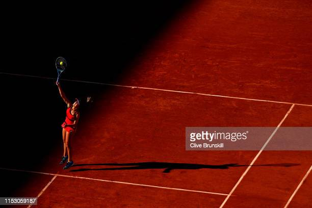 Sofia Kenin of The United States plays a smash during the warm up ahead of her during her ladies singles third round match against Serena Williams of...