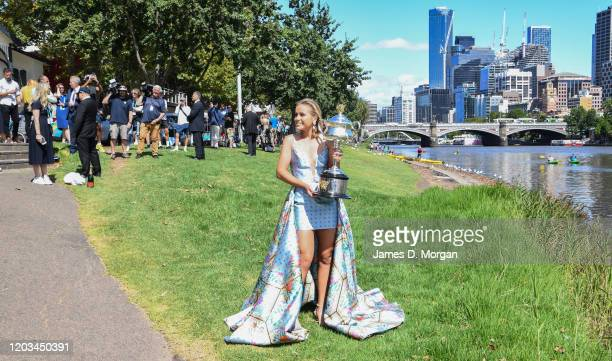 Sofia Kenin of the United States poses for the media with the Daphne Akhurst Memorial Trophy beside the Yarra River after winning the 2020 Australian...