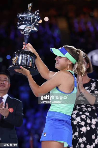 Sofia Kenin of the United States poses with the Daphne Akhurst Memorial Cup after her Women's SinglesFinal match against Garbine Muguruza of Spain...