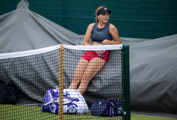 Sofia Kenin of the United States practices ahead of The Championships - Wimbledon 2021 at All England Lawn Tennis and Croquet Club on June 27, 2021...