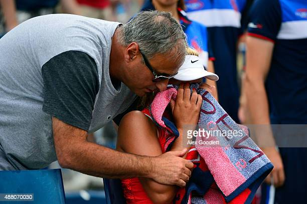 Sofia Kenin of the United States reacts after her Junior Girls' Singles Final against Dalma Galfi of Hungary on Day Fourteen of the 2015 US Open at...
