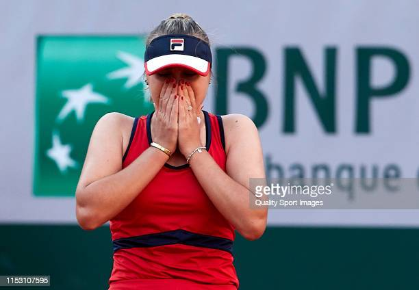 Sofia Kenin of The United States reacts as she celebrates victory during her ladies singles third round match against Serena Williams of The United...