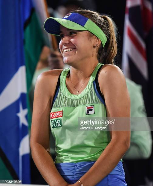 Sofia Kenin of the United States reacts during the trophy presentation after winning her Women's SinglesFinal match against Garbine Muguruza of...
