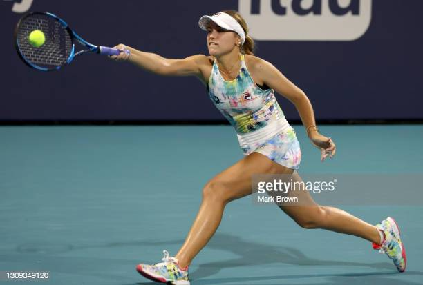 Sofia Kenin of the United States returns a shot during her women's singles second round match against Andrea Petkovic of Germany on Day 5 of the 2021...