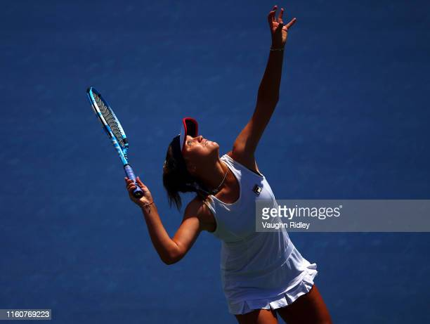 Sofia Kenin of the United States serves against Bianca Andreescu of Canada during a semifinal match on Day 8 of the Rogers Cup at Aviva Centre on...