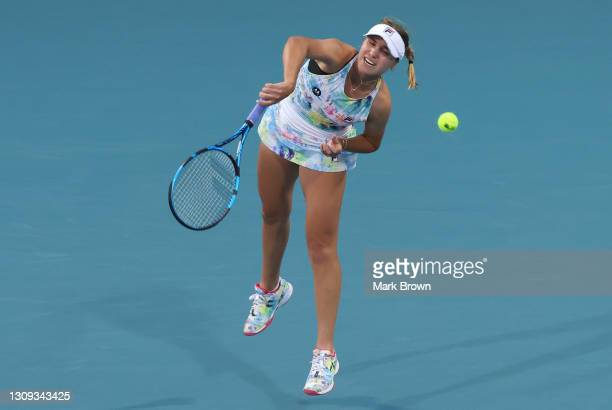 Sofia Kenin of the United States serves during her singles second round match against Andrea Petkovic of Germany on Day 5 of the 2021 Miami Open...