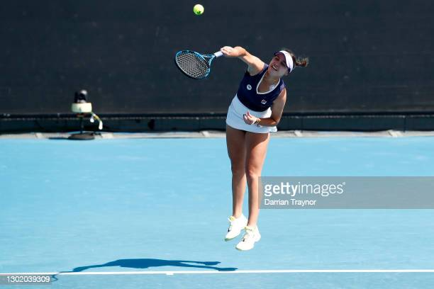 Sofia Kenin of the United States serves in her Women's Singles first round match against Olivia Gadecki of Australia during day one of the 2021...