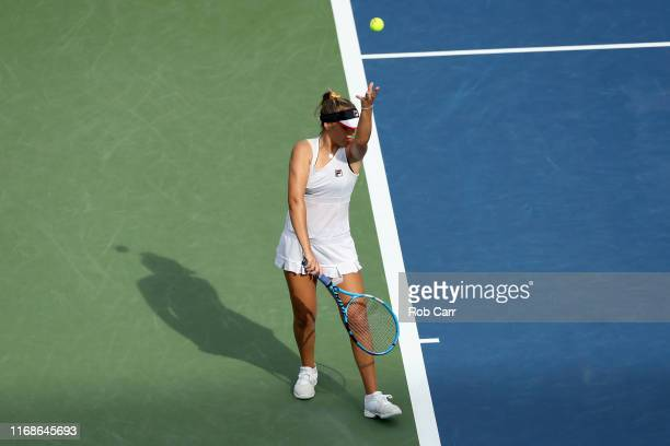 Sofia Kenin of the United States serves to Madison Keys of the United States during Day 8 of the Western and Southern Open at Lindner Family Tennis...