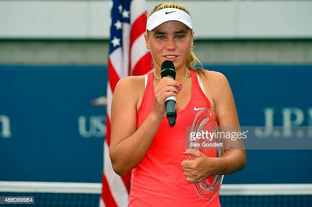 Sofia Kenin of the United States speaks after loosing to Dalma Galfi of Hungary during their Junior Girls' Singles Final on Day Fourteen of the 2015...