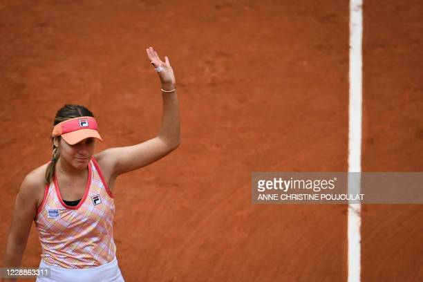 Sofia Kenin of the US celebrates after winning against Romania's Irina Bara during their women's singles third round tennis match on Day 7 of The...