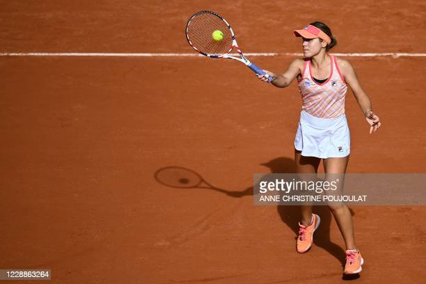 Sofia Kenin of the US returns the ball to Romania's Irina Bara during their women's singles third round tennis match on Day 7 of The Roland Garros...