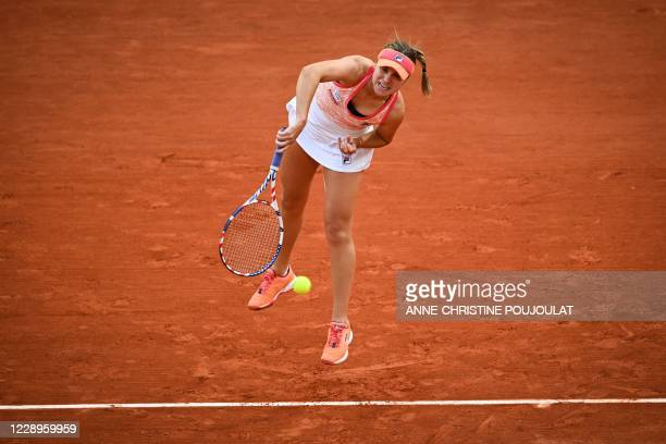 Sofia Kenin of the US serves ball to Czech Republic's Petra Kvitova during their women's singles semi-final tennis match on Day 12 of The Roland...