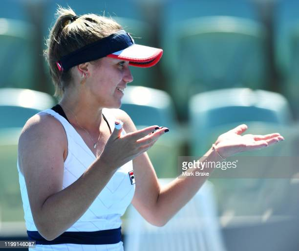 Sofia Kenin of the USA after her win over Viktorija Golubic of Switzerland during day two of the 2020 Adelaide International at Memorial Drive on...