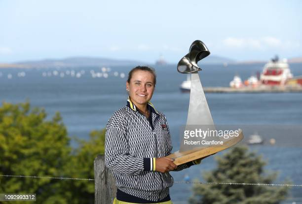Sofia Kenin of the USA poses after wining the singles final against Anna Karolina Schmiedlova of Slovakia during day eight of the 2019 Hobart...