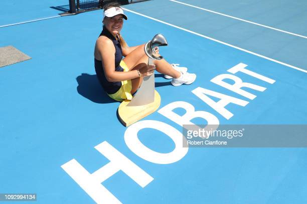 Sofia Kenin of the USA poses after winning the singles final against Anna Karolina Schmiedlova of Slovakia during day eight of the 2019 Hobart...