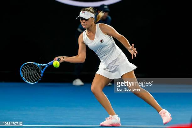 Sofia Kenin of United States returns the ball during day 4 of the Australian Open on January 17 2019 at Melbourne Park in Melbourne Australia