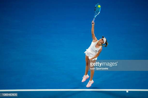 Sofia Kenin of United States serves the ball during day 4 of the Australian Open on January 17 2019 at Melbourne Park in Melbourne Australia