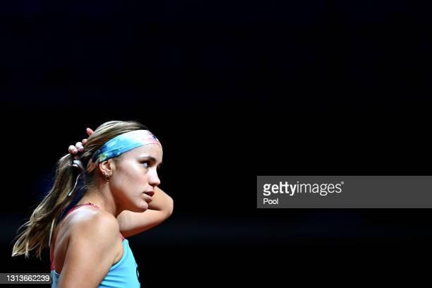Sofia Kenin of USA adjusts her headband on day 5 of the Porsche Tennis Grand Prix match between Anett Kontaveit of Estonia and Sofia Kenin of USA at...