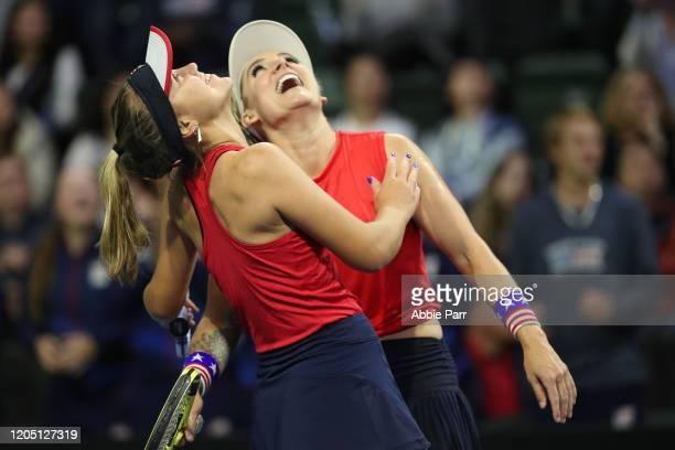 Sofia Kenin of USA and Bethanie MattekSands of USA celebrate after defeating Anastasija Sevastova of Latvia and Jelena Ostapenko of Latvia in the...
