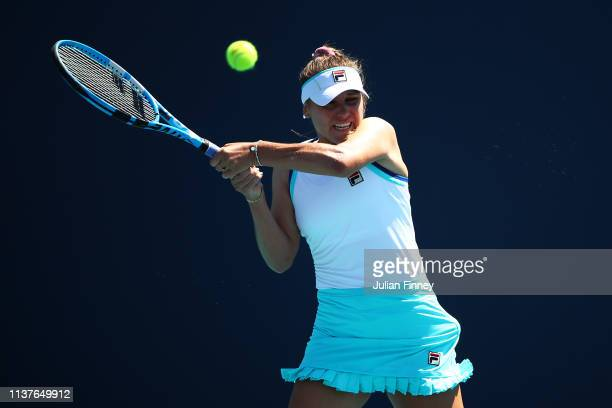 Sofia Kenin of USA in action against Bianca Andreescu of Canada during day five of the Miami Open Tennis on March 22 2019 in Miami Gardens Florida