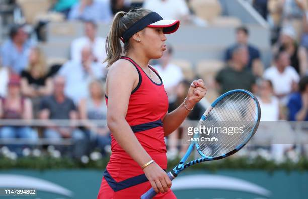Sofia Kenin of USA in action against Serena Williams of USA during day 7 of the 2019 French Open at Roland Garros stadium on June 1 2019 in Paris...