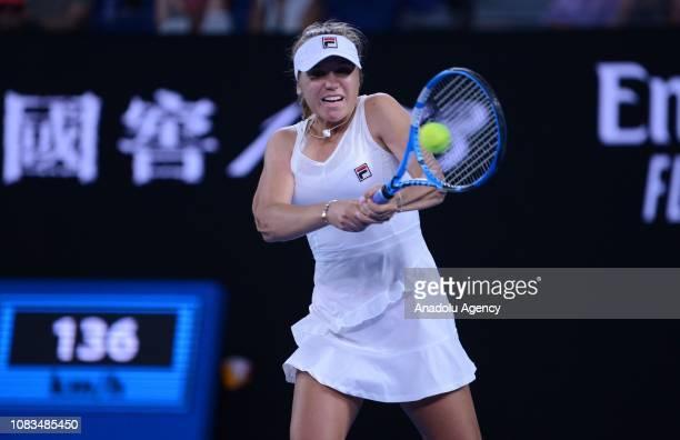 Sofia Kenin of USA in action against Simona Halep of Romania during Australian Open 2019 Women's Singles match in Melbourne Australia on January 17...