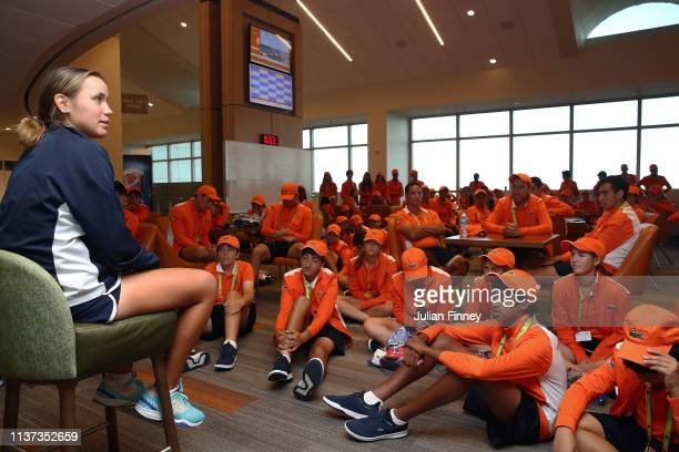 Sofia Kenin of USA meets the ball kids during day four of the Miami Open tennis on March 21 2019 in Miami Gardens Florida