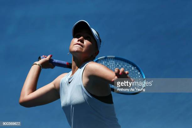 Sofia Kenin of USA plays serves in her match against Jana Fett of Croatia during day two of the ASB Women's Classic at ASB Tennis Centre on January 2...