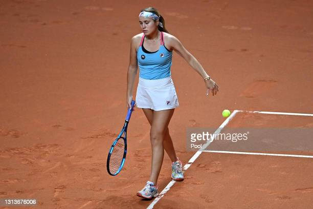 Sofia Kenin of USA reacts to a missed point on day 5 of the Porsche Tennis Grand Prix match between Anett Kontaveit of Estonia and Sofia Kenin of USA...