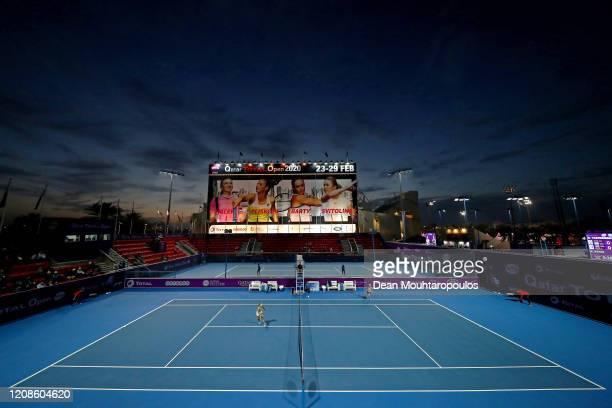 Sofia Kenin of USA returns a forehand against Dayana Yastremska of Ukraine during Day 3 of the WTA Qatar Total Open 2020 at Khalifa International...
