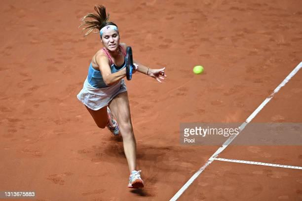 Sofia Kenin of USA returns a forehand on day 5 of the Porsche Tennis Grand Prix match between Anett Kontaveit of Estonia and Sofia Kenin of USA at...