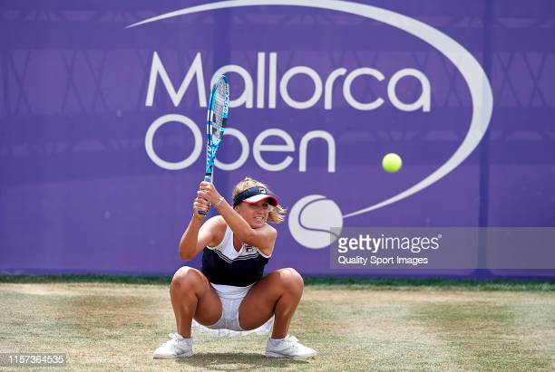 Sofia Kenin of USA returns a shot in her ladies singles quarterfinal match against Elise Mertens of Belgium during day five of the 2019 WTA Mallorca...