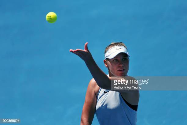 Sofia Kenin of USA serves in her match against Jana Fett of Croatia during day two of the ASB Women's Classic at ASB Tennis Centre on January 2 2018...