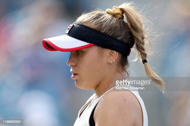 Sofia Kenin plays Madison Keys during the Western Southern Open at Lindner Family Tennis Center on August 17 2019 in Mason Ohio