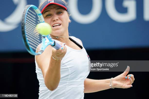 Sofia Kenin returns the ball during her quarterfinals match of the Rogers Cup tennis tournament on August 9 at Aviva Centre in Toronto ON Canada