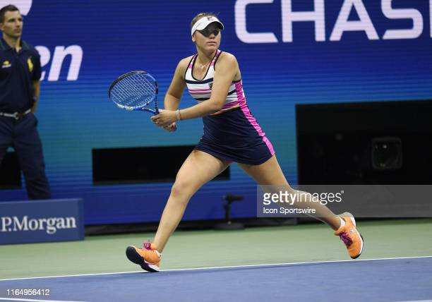 Sofia Kenin running for a forehand during her 3rd round match in the women's singles championship's at the US Open on August 30 at the Billie Jean...
