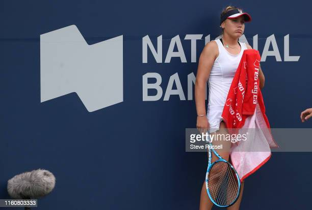 TORONTO ON AUGUST 10 Sofia Kenin tries to regroup in the second set Bianca Andreescu from Toronto defeats Sofia Kenin to become the first Canadian...
