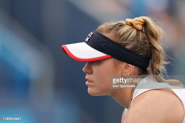 Sofia Kenin waits for the serve during the Western Southern Open at Lindner Family Tennis Center on August 16th 2019 in Mason Ohio