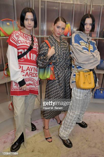 Sofia Kuprienko of The Bloom Twins, Iris Law and Anna Kuprienko attend the launch event of Mulberry's 'Iris for Iris' capsule collection designed by...
