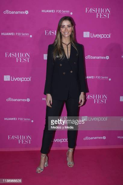 Sofia Lascurain poses for photos during the Pink Carpet as part of the Spring/ Summer Liverpool Fashion Fest 2019 on March 28 2019 in Mexico City...
