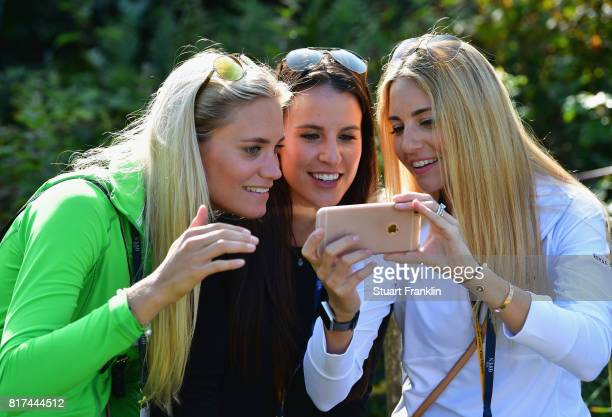 Sofia Lundstedt Angela Akins and Gala Ortin during a practice round prior to the 146th Open Championship at Royal Birkdale on July 18 2017 in...